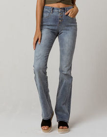 SKY AND SPARROW Exposed Button High Waisted Womens