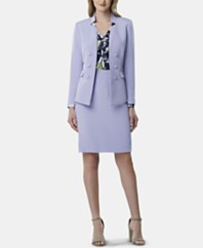 Tahari ASL Double-Breasted Jacket, Printed Ruffled