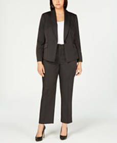 Le Suit Plus Size One-Button Mini Pinstriped Pants