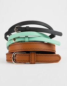 FULL TILT 3 Pack Stitched & Skinny Belts_