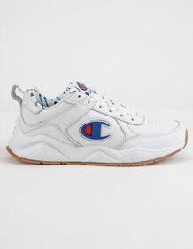 CHAMPION 93Eighteen C Logo White Leather Boys Shoe