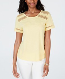 Charter Club Cotton Lace-Trim Top, Created for Mac