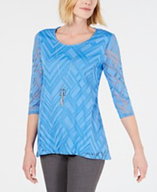 JM Collection Burnout Mesh Necklace Tunic, Created