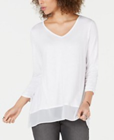 Style & Co V-Neck Chiffon-Hem Top, Created for Mac