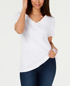Karen Scott Cotton Embroidered Scalloped T-Shirt,