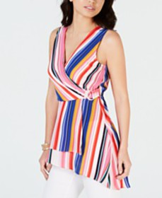 Thalia Sodi Faux-Wrap Asymmetrical Hem Multi Strip