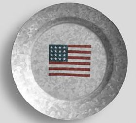 Pottery Barn Galvanized American Flag Salad Plate