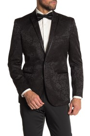 Kenneth Cole Reaction Black Floral Two Button Notc