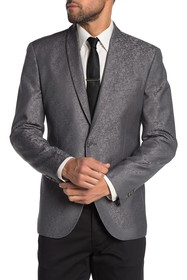 Kenneth Cole Reaction Silver One Button Shawl Lape