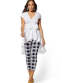 White Poplin Tie-Waist Hi-Lo Shirt - 7th Avenue -