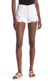 Tractr Button Fly High Rise Frayed Denim Shorts