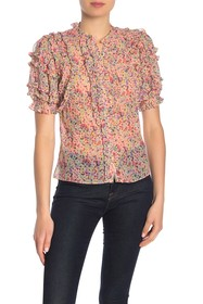 Rebecca Taylor Maro Floral Short Sleeve Top
