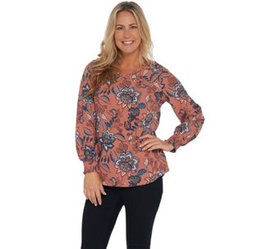 """As Is"" Denim & Co. Botanical Print Top - A369354"