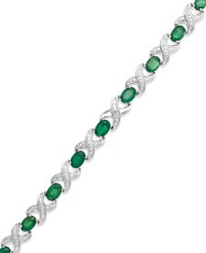 Emerald (7 ct. t.w.) and Diamond Accent XO Bracele