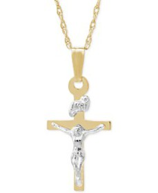 Children's Two-Tone Crucifix Pendant Necklace in 1