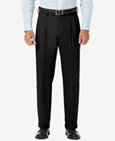 J.M. Haggar Sharkskin Classic-Fit Pleated Hidden E