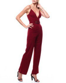 Fashion Lab s/l deep v-neck belted jumpsuit
