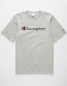 CHAMPION Script Logo Grey Mens T-Shirt_