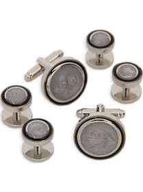 Pronto Uomo Silver and White Round Cufflink and St