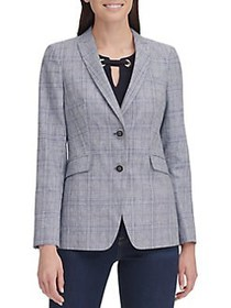 Tommy Hilfiger Plaid-Print Blazer BAY BLUE