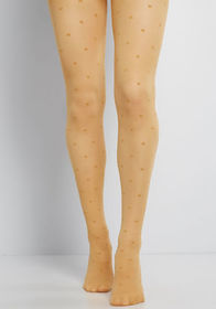 Primed for Polka Dots Tights in Mustard Yellow