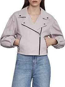 BCBGMAXAZRIA Melody Leather Biker Jacket LAVENDER