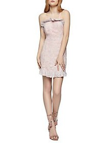 BCBGeneration Floral Lace Ruffle Mini Sheath Dress
