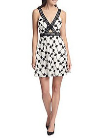 Guess Sleeveless Embroidered Cut-out Dress BLACK W