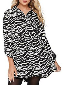 QUIZ Zebra Printed Button-Front Dress BLACK