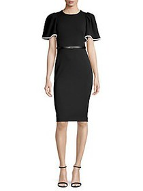 Calvin Klein Puff Sleeve Sheath Dress BLACK WHITE