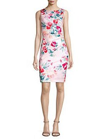 Calvin Klein Floral Pintuck Sheath Dress WATERMELO