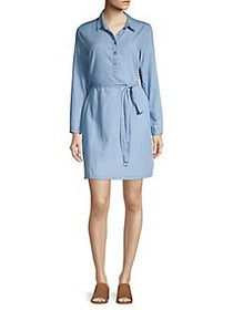 Lucky Brand Collared Belted Chambray Dress CHAMBRA