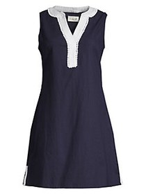 Eliza J Split Framed Neckline Shift Dress NAVY