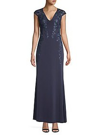 Calvin Klein Cap Sleeve Embroidered Gown INDIGO