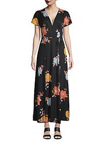 French Connection Floral-Print Maxi Wrap Dress BLA