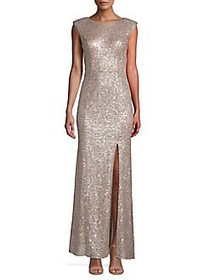 Vince Camuto Sequin Cap-Sleeve Gown CHAMPAGNE