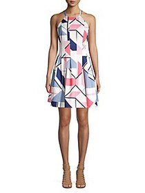 Vince Camuto Printed Halterneck Fit-&-Flare Dress