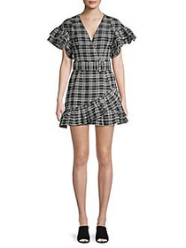 CMEO COLLECTIVE Belted Plaid Ruffle Mini Dress BLA