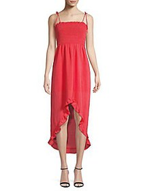 The Fifth Label Strappy Smocked High-Low Midi Dres