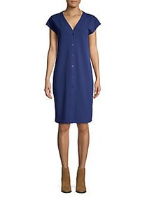 H Halston Flutter-Sleeve Shirt Dress DEEP AZURE