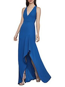 BCBGMAXAZRIA Asymmetrical Crepe High-Low Gown TRUE