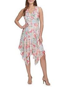 Kensie Ruffle Floral Dress SKY