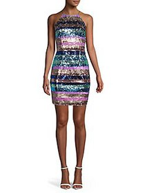 Aidan by Aidan Mattox Sequin Stripe Halter Dress B
