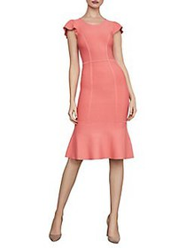 BCBGMAXAZRIA Fluted Bodycon Dress SUNKIST CORAL
