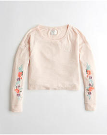 Hollister Embroidered Crewneck Sweatshirt, Light P
