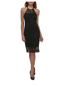 Guess Halter Lace Strap Dress BLACK