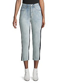 CAARA Cropped Two-Tone Jeans BLUE