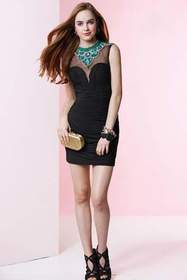 Alyce Paris - Bejeweled and Ruched Sleeveless Illu