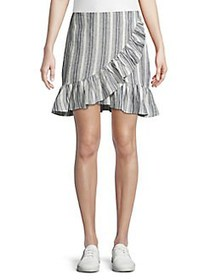 The Fifth Label Stripe-Print Ruffled Skirt NAVY