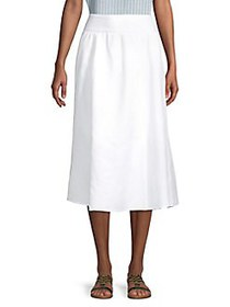 Joan Vass Smocked Waistband Skirt BRIGHT WHITE
